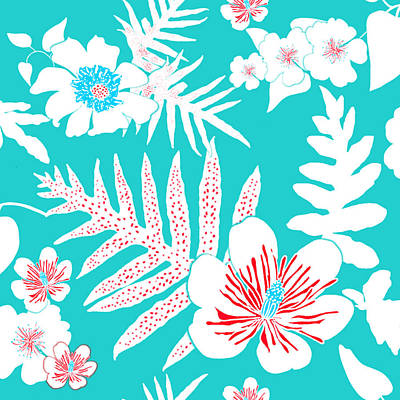 Digital Art - Bold Fern Floral - Turquoise by Karen Dyson