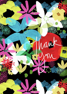 Bold Colors Painting - Bold Floral Thank You Card- Design By Linda Woods by Linda Woods