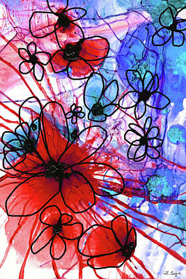 Painting - Bold Modern Floral Art - Wild Flowers 3 - Sharon Cummings by Sharon Cummings
