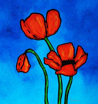 Blue And Red Painting - Bold Red Poppies - Colorful Flowers Art by Sharon Cummings