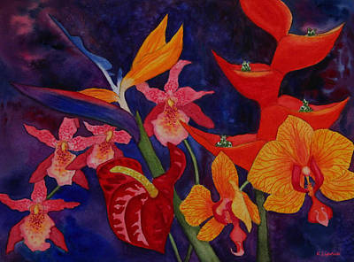 Art Print featuring the painting Bold Tropical Flowers by Kerri Ligatich