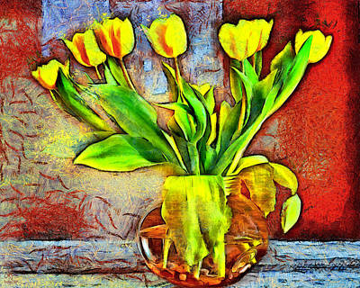 Mixed Media - Bold Tulips by Pennie McCracken