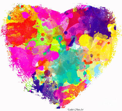 Photograph - Bold Watercolor Heart - Digital Art by Debbie Portwood