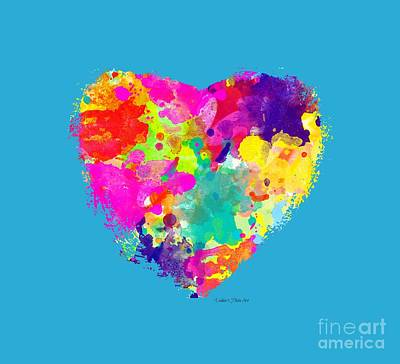 Digital Art - Bold Watercolor Heart - Tee Shirt Design by Debbie Portwood