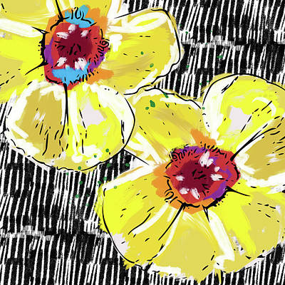 Graphic Mixed Media - Bold Yellow Poppies- Art By Linda Woods by Linda Woods