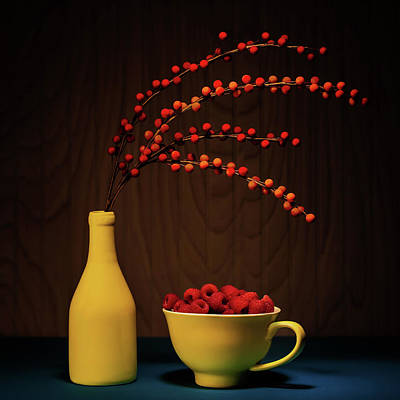 Teacup Photograph - Bold Yellow With Raspberries by Tom Mc Nemar