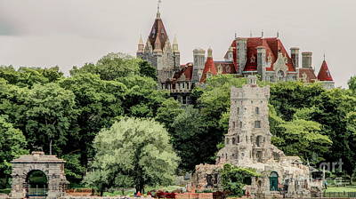 Photograph - Boldt Castle Entry Arch And Alster Tower Illustration Effect by Rose Santuci-Sofranko