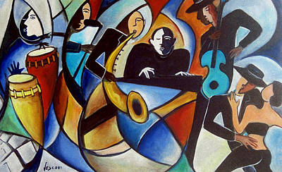Cuban Music Painting - Bolero 5 by Valerie Vescovi