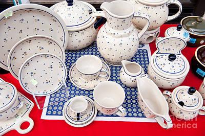 Ceramics Photograph - Boleslawiec Ceramics Folk Tableware by Arletta Cwalina