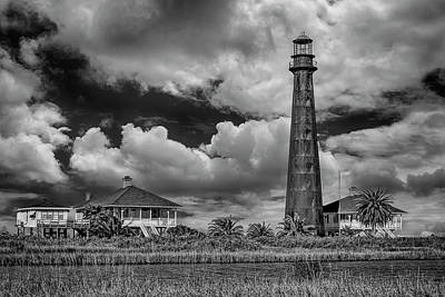 Photograph - Bolivar Point Lighthouse With Clouds Bnw Dsc02923  by Greg Kluempers