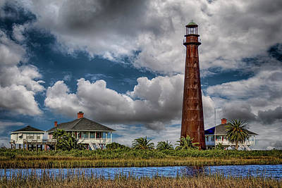 Photograph - Bolivar Point Lighthouse With Clouds Color Dsc02923 by Greg Kluempers