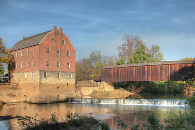 Photograph - Bollinger Mill And Burfordville Covered Bridge by Harold Rau