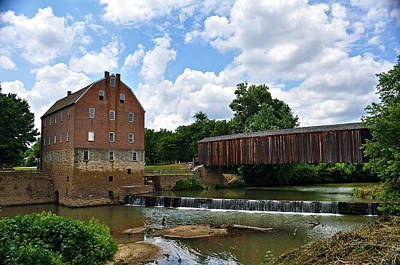 Bollinger Mill And Covered Bridge Print by Marty Koch