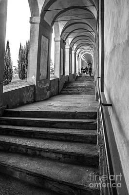 Gravure Photograph - Bologna Canvas - Stairways Arcadesto San Luca Prints  by Luca Lorenzelli