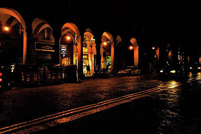 Photograph - Bologna Italy At Night by Maggie Vlazny