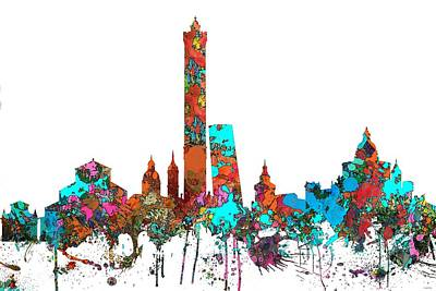 Digital Art - Bologna Italy  Skyline  by Marlene Watson