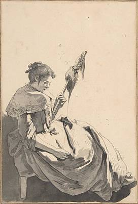 Bolognese Peasant Girl With A Distaff Art Print by Jean Baptiste