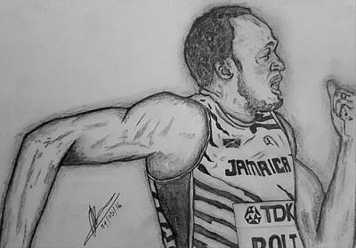 Usain Bolt Drawing - Bolt 200m by Collin A Clarke
