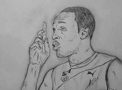 Usain Bolt Drawing - Bolt  by Collin A Clarke