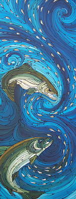 Salmon Painting - Bolt by Tammie Hunter
