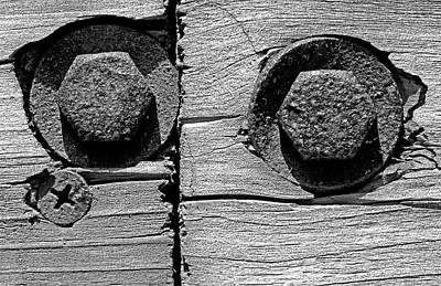 Photograph - Bolts And Single Screw Bw by Mary Bedy