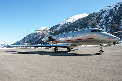 Corporate Elites Photograph - Bombardier Challenger 350 Just Landed At Samedan. by Roberto Chiartano