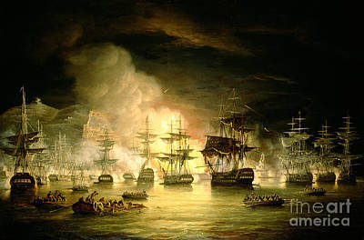 Flaming Painting - Bombardment Of Algiers by Thomas Luny