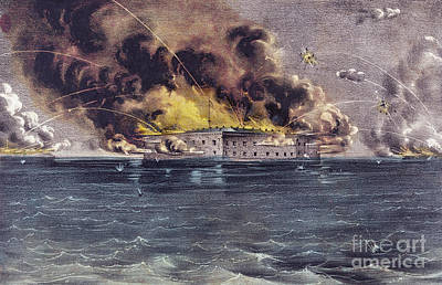 Gunfire Painting - Bombardment Of Fort Sumter, Charleston Harbor, Signaled The Start Of The American Civil War by American School