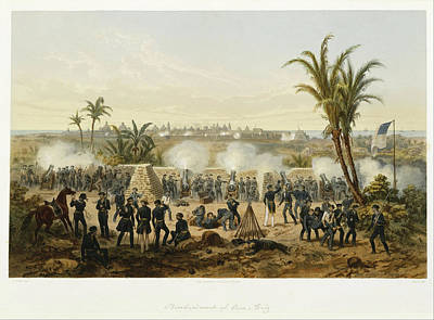 Mexican Town Painting - Bombardment Of Vera Cruz by Adolph Bayot