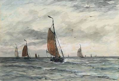 Scheveningen Painting - Bomschuiten On Open Sea by MotionAge Designs