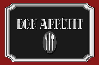 Bon Appetit Art Deco Style Sign Art Print by Cecely Bloom