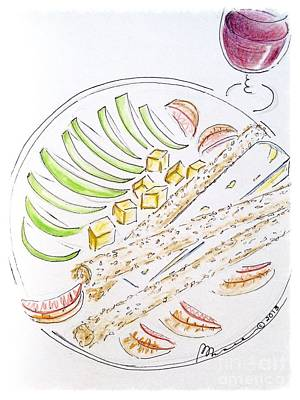 Wine Drawings - Bon Appetit  by Barbara Chase