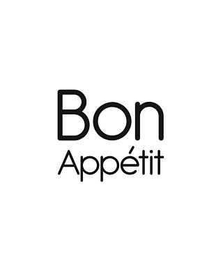 Mixed Media Royalty Free Images - Bon Appetit - Good Food - Minimalist Print Royalty-Free Image by Studio Grafiikka