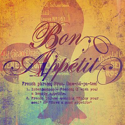 Fleur De Lis Digital Art - Bon Appetit V2 by Brandi Fitzgerald