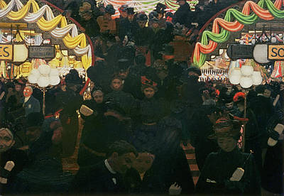 Crowd Scene Painting - Bon Marche 1898 by Felix Edouard Vallotton