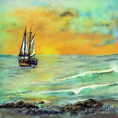 Pirate Ship Painting - Bon Voyage by Janal Koenig