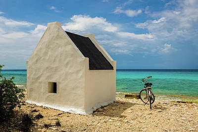 Photograph - Bonaire - White Slave Hut And Bicycle by Mark Robert Rogers