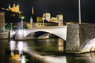 Saone River Photograph - Bonaparte Bridge At Night In Lyon by George Oze