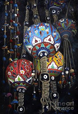 Ceramic Beads Painting - Boncuks And Balls by Carol Bostan