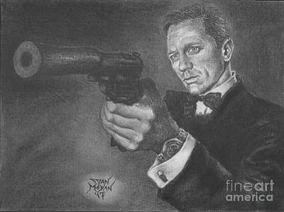 Drawing - Bond Portrait Number 3 by Dan Moran