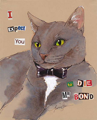 Wicked Kitty Painting - Bond Villain Kitty by Tracie Thompson