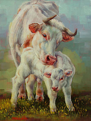 Bonded Cow And Calf Art Print