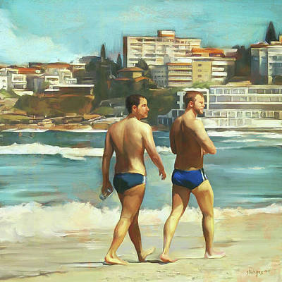 Digital Art - Bondi Beach Boys by Simon Sturge