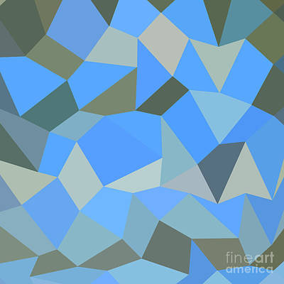 Bondi Blue Abstract Low Polygon Background Art Print by Aloysius Patrimonio