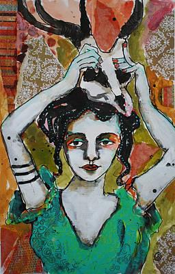 India Ink Wall Art - Painting - Bone Head by Jane Spakowsky