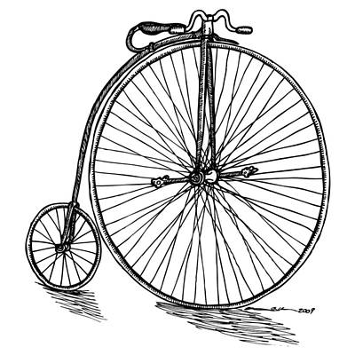Velocipede Drawing - Boneshaker Bicycle by Karl Addison