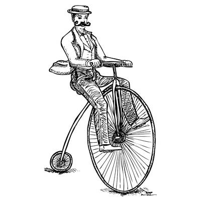 Wheel Drawing - Boneshaker Velocipede Bicycle by Karl Addison