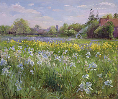 Field Of Wildflowers Painting - Bonfire And Iris Field by Timothy Easton