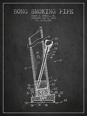 Smoking Digital Art - Bong Smoking Pipe Patent 1980 - Charcoal by Aged Pixel