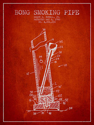Bong Smoking Pipe Patent 1980 - Red Art Print by Aged Pixel